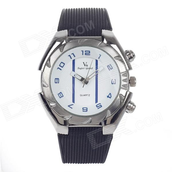 Super Speed V0181 Men's Stainless Steel Quartz Analog Wrist Watch - Black + White + Blue (1 x LR626)