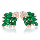 Fashionable Peafowl Style Alloy Earrings w/ Rhinestone - Green + Golden (Pair)