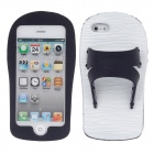Slippers Style Protective Silicone Case for iPhone 5 - Black + White