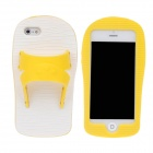 Slippers Style Protective Silicone Case for iPhone 5 - Yellow + White