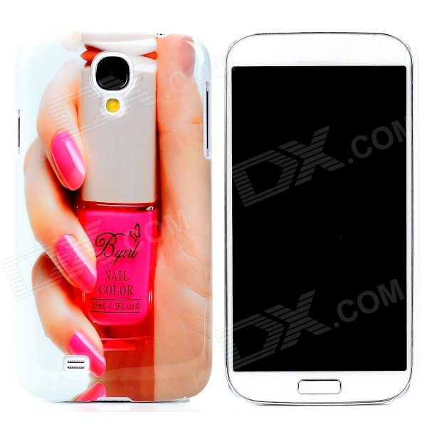 Fashion Nail Art Pattern Plastic Back Case for Samsung Galaxy S4 i9500 - Pink + White + Nude fashionable cute moustache pattern plastic back case for samsung galaxy s4 i9500 multicolored