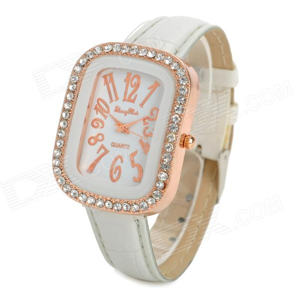 Rhinestone PU Band Analog Quartz Wrist Watch for Women - White + Rose Gold