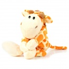 3458 Cute Short Plush Giraffe Doll Fridge Magnet / Memo Pendant w/ Keychain - Orange + Creamy white