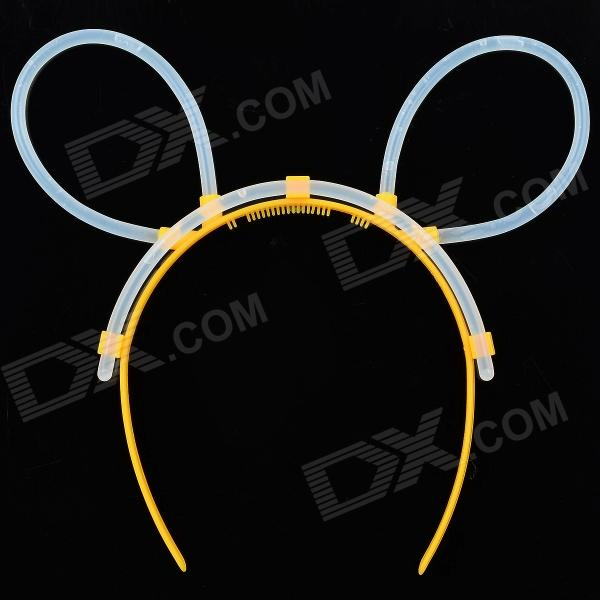 MXZ-003 Cute Stylish Glow-in-the-dark DIY Plastic Hair Band w/ Glow Stick - Yellow + Transparent