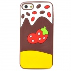 Cute Strawberry Style Protective Silicone Back Case for Iphone 5 - Coffee + Yellow