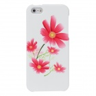 Fashion Flower Pattern PC Back Case for Iphone 5 - Red + White