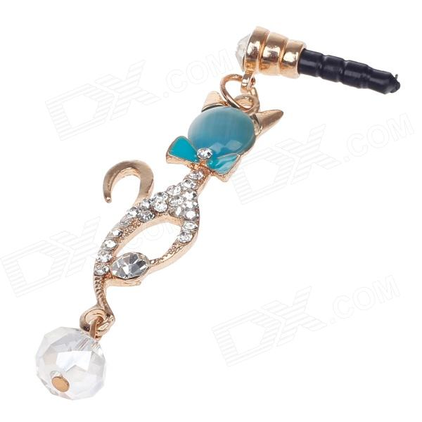 Sexy Catwoma Style3.5mm Anti-dust Plug for Iphone 4S + More - Blue+Golden
