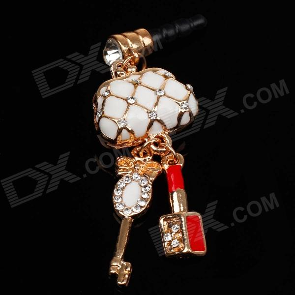 Lock Package Style 3.5mm Anti-dust Plug for Iphone 4S + More - White + Golden + Red