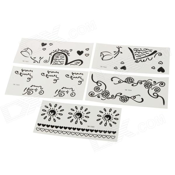 YM-T001-T005 Waterproof Perfumed Temporary Tattoo Stickers - Black + White (5 PCS)