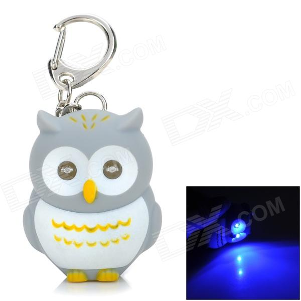 Cartoon Owl Shaped Blue LED Light Keychain - Grey + White + Yellow (3 x AG13)