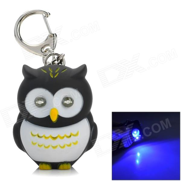 Owl Shaped Blue LED Light Keychain - Black + White + Yellow (3 x AG10)