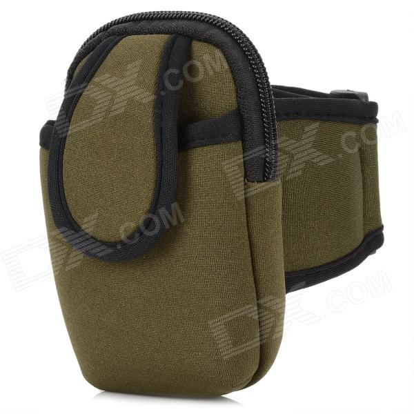 Sports Nylon Armband Bag Case for Iphone 4 / 4S / Cell Phone - Dark Green + Black zippered sports armband bag pouch for iphone 4 dark blue