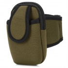 Sports Nylon Armband Bag Case for Iphone 4 / 4S / Cell Phone - Dark Green + Black