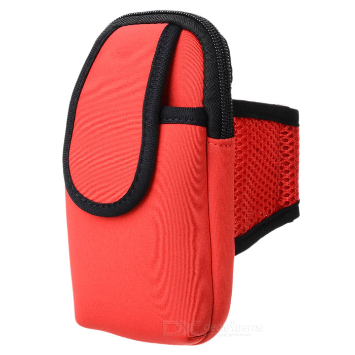 Sports Nylon Armband Bag Case for Iphone 4 / 4S / Cell Phone - Red + Black zippered sports armband bag pouch for iphone 4 dark blue