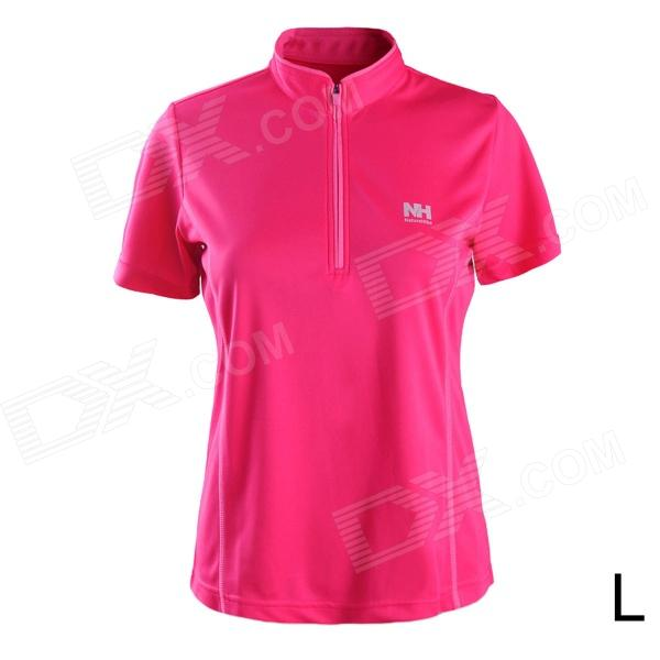 Naturehike-NH BD02 Quick Drying Polyester Sport Stand Collar T-shirt for Women - Deep Pink (Size L) naturehike nh outdoor travel quick drying polyester towel blue