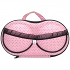 Stylish Lace + Dot Bra Style Portable Travel Nylon + EVA Underwear Bra Storage Bag - Pink + Black