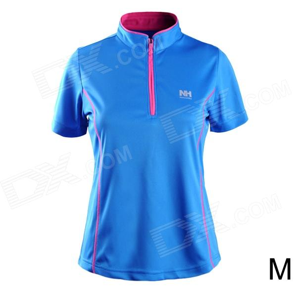 Naturehike-NH Quick Drying Polyester Sport Stand Colar T-shirt para Mulheres - Azul (Tamanho M)