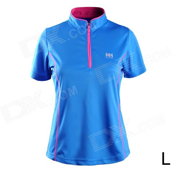 Naturehike-NH Tissu à coupe rapide polaire Sport Stand Collar pour femme - Bleu (taille L)