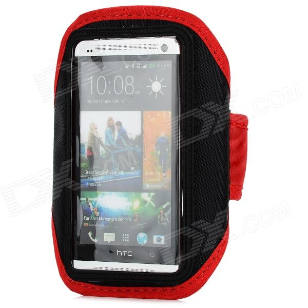 Sports Gym Arm Band for HTC ONE M7 - Black + Red