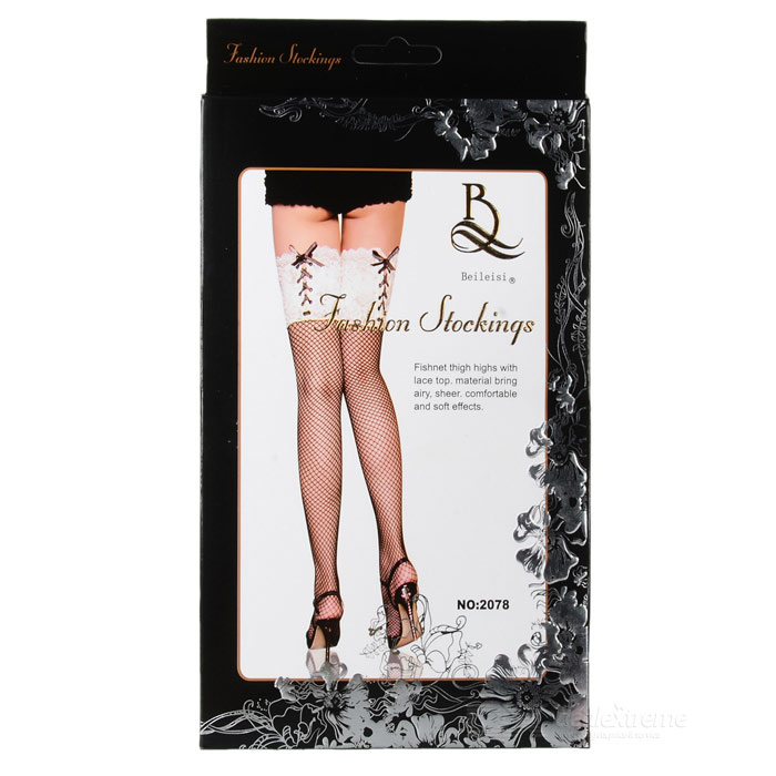 BEILEISI 2078 Sexy Lace + Fishnet Silk Stockings - Black + White (Pair / Free Size)Socks and Leg wear<br>Model2078Quantity1Form  ColorWhiteMaterial88%StyleFashionSock Length of Foot20~33Sock Girth of Footdth7~24Sock Length of Leg58Sock Girth of Leg36Elasticity60~144cmPacking List1 x Pair of silk stockings<br>