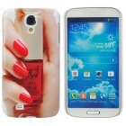 Fashion Finger w/ Nail Polish Pattern Plastic Back Case for Samsung i9500 - Red + Fleshcolor