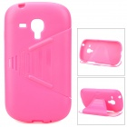 TEMEI Protective Silicone + TPU Flip-Open Case for Samsung i8190 - Deep Pink