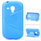 TEMEI Flip-Open Silicone Stand Case for Samsung i8190 - Blue