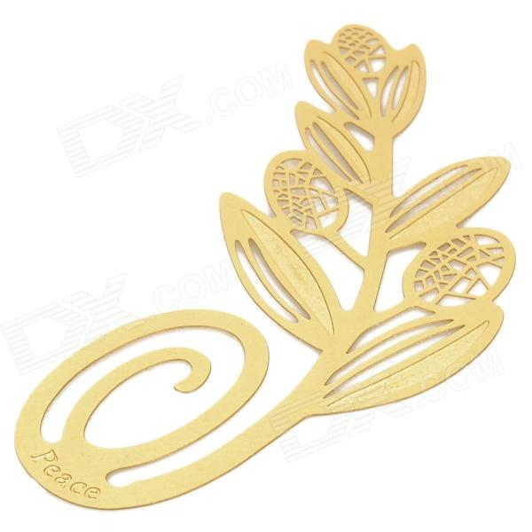 A033 Olive Branch Style Brass Bookmark - Golden