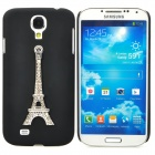 3D Crystal Eiffel Tower Relievo Style Plastic Back Case for Samsung Galaxy S4 i9500 - Black + Silver