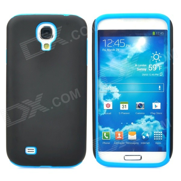 Detachable Protective Silicone + PC Back Case for Samsung Galaxy S4 / i9500 - Black+ Blue 2 in 1 detachable protective tpu pc back case cover for samsung galaxy note 4 black