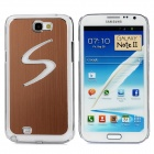 Protective Multicolored LED Metal Wiredrawing ABS Case for Samsung N7100 - Brown + Transparent