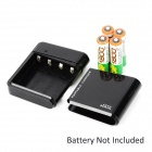 Portable 4 x AA Charger w/ USB Cable for Samsung i9500 / i9300 / N7100 - Black
