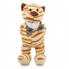 Bow-tie Tiger Gentleman Plush Doll Toy - Brown + Beige + White