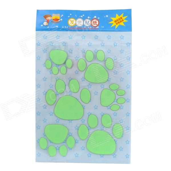 Glow-in-the-Dark Dog Footprint Style Decoration Wall Paper Sticker - Green glow in the dark dog footprint style decoration wall paper sticker green