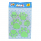 Glow-in-the-Dark Dog Footprint Style Decoration Wall Paper Sticker - Green
