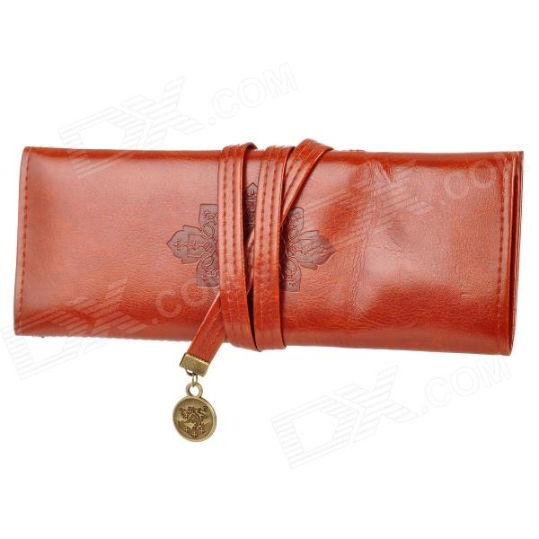 Retro Simple PU Leather Cosmetic Bag / Makeup Bag - Reddish Brown