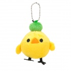 Cute  Little Chick w/ Apple Style Plush Doll Keychain - Yellow + Green