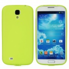 Protective Frosted TPU Back Case w/ Anti-Dust Cover for Samsung Galaxy S4 i9500 - Yellow Green