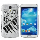 Rhinestone Piano Pattern Protective Plastic Case for Samsung Galaxy S4 i9500 - Silvery White + Black