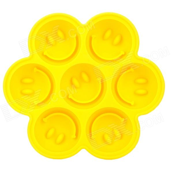 Silicone Smile Face Style 7-Cube Ice Cubes Trays Maker DIY Mould - Yellow cute smile face expression round erasers yellow 4 piece random style