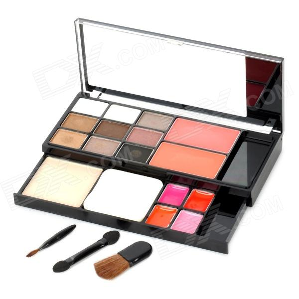 Convenient Pressed Powder + Eyeshadow + Blusher + Lip Gloss Makeup Set - Multicolored