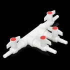 3-Way Air Pump Tube Splitter Manifold Taps Switch Valve for Fish Tank / Aquarium - White + Red