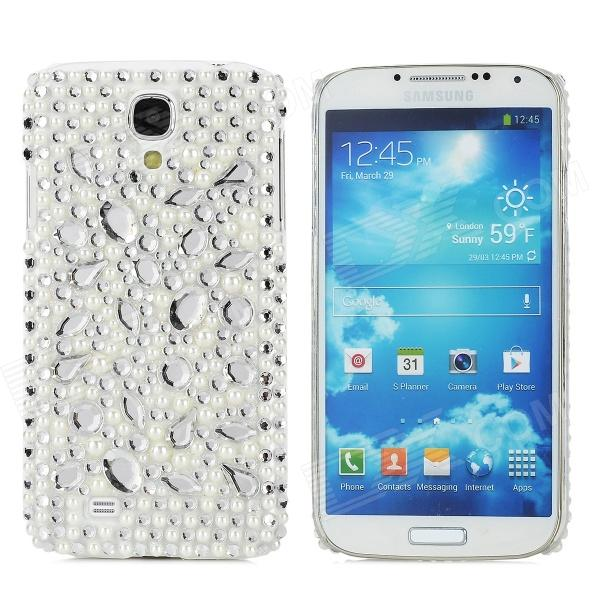 Protective Rhinestone Plastic Case for Samsung Galaxy S4 i9500 - Silvery White