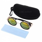 Stylish UV400 Protection PC Lens Plastic + High-Nickel Alloy Frame Sunglasses - Tan + Golden