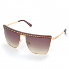 LANGTEMENG J58165 C1-194-13 Stylish UV400 Protection Sunglasses for Women - Coffee + Golden