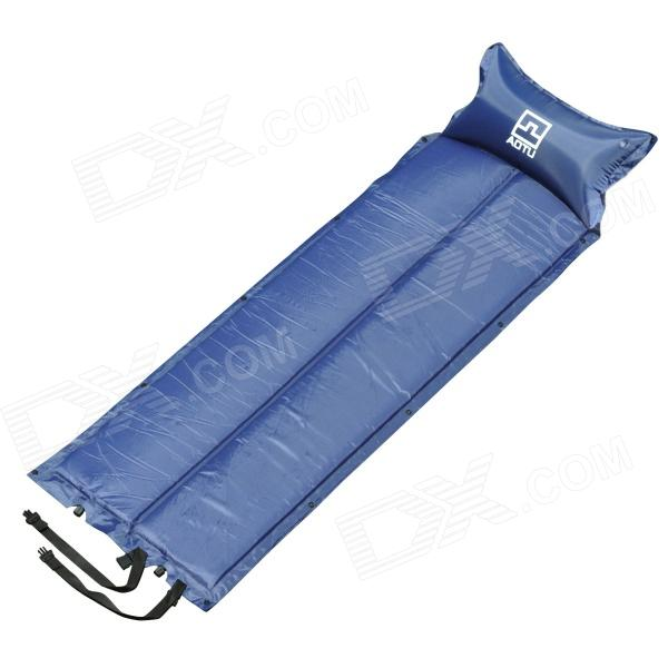 Aotu o333 Folding Outdoor Camping Sleeping Inflatable Mat / Pad w/ Pillow - Deep Blue