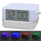 "HC i308 4-Port USB 2.0 Hub w/ 2.7"" LCD Digital Clock / Colorful Charging Light - Light Purple"