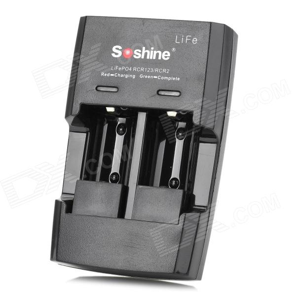 Soshine S5-Fe Car Charger + Battery Charger + US Plug Power Adapter for RCR123 / CR2 - Black