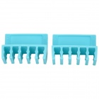 Plastic Cable Cord Divider Organizer w/ Adhesive Tape - Blue (2 PCS)
