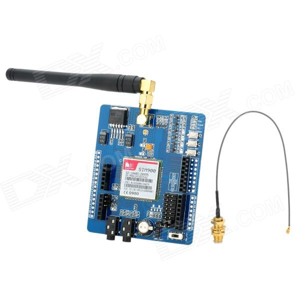 GSM / GPRS SIM900 Module ICOMSAT Expansion Board w/ Antenna + Cable for Arduino - Blue + Black waveshare phone shield gsm gprs gps module for arduino stm32 support quad band 850 900 1800 1900mhz